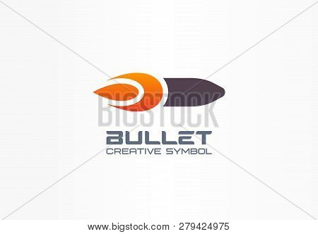 Bullet Creative Symbol Concept. Fire Power Flame Shape In Abstract Business Military Logo. Gunshot T