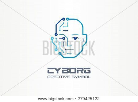 Ai Robot Technology Creative Symbol Machine Concept. Digital Bionic Cyborg Face Abstract Business Fu