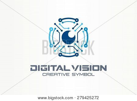 Digital Vision Creative Symbol Concept. Circuit Robot Eye, Vr System Abstract Business Logo. Cctv Mo