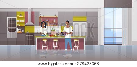Couple Making Dinner Happy African American Man Woman Cooking Together At Home Modern Kitchen Interi