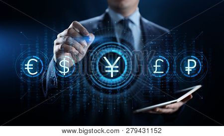 Yen Currency Sign Icon On Virtual Screen. Forex Trading Business Technology Concept.