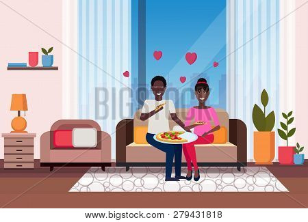 Happy Couple Eating Pizza African American Man Woman Sitting On Couch Modern Apartment Home Living R