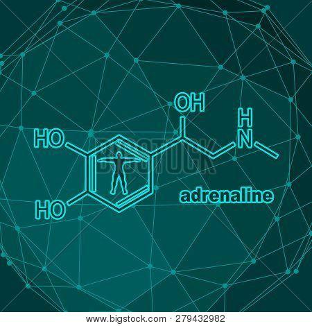 Chemical Molecular Formula Hormone Adrenaline. Infographics Illustration. Man Silhouette
