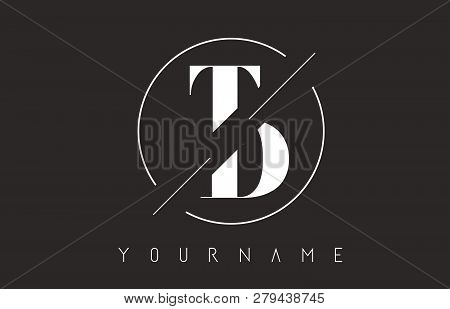Td Letter Logo With Cutted And Intersected Design And Round Frame Vector Illustration