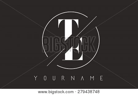 Te Letter Logo With Cutted And Intersected Design And Round Frame Vector Illustration