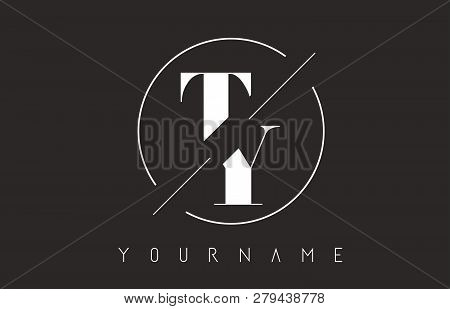 Ty Letter Logo With Cutted And Intersected Design And Round Frame Vector Illustration
