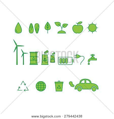 Vector Set Of Ecology Icons. Ecology Icons Collection.
