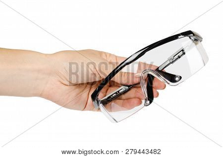 Protective workwear to protect human eyes, safety glasses with hand poster