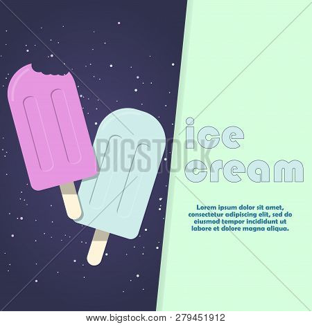 Beautiful Color Composition With Colorful Cartoon Ice Cream. Color Popsicle. Spray Of Taste. Beautif