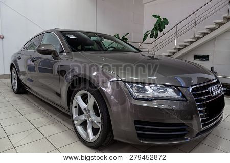 Novosibirsk, Russia - 08.01.2018: Front View Of The 2011 Sports Audi A7 Sportback Sedan Prepared For