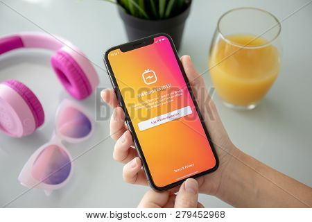 Alushta, Russia - July 27, 2018: Woman Hand Holding Iphone X With Social Networking Service Igtv Ins