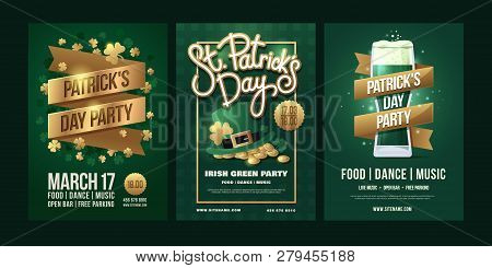 St.patrick`s Day. Set Of Posters With Symbols Of The Irish Holiday On Green Background. Gold Inscrip