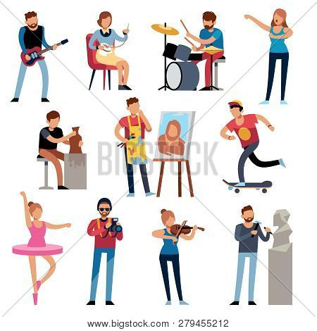 Hobby Persons. People Of Creative Professions At Work. Artistic Occupations, Retro Hobbies Cartoon C