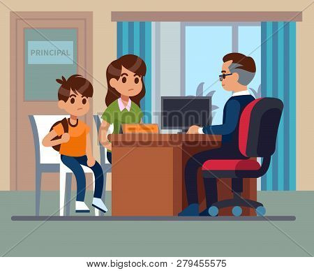 Principal School. Parents Kids Teacher Meeting In Office. Unhappy Mom, Son Talk With Angry Principal