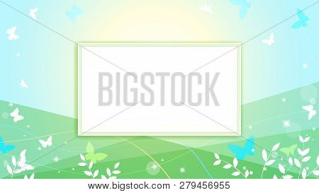 Abstract Spring Summer Background In Light Pastel Color, Environmental Theme With Butterfly And Tree
