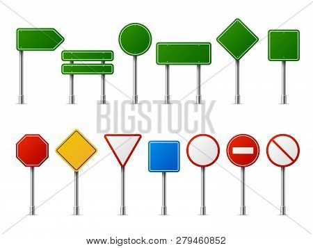 Traffic Road Realistic Signs. Signage Signal Warning Sign Stop Danger Caution Speed Highway Empty Pa
