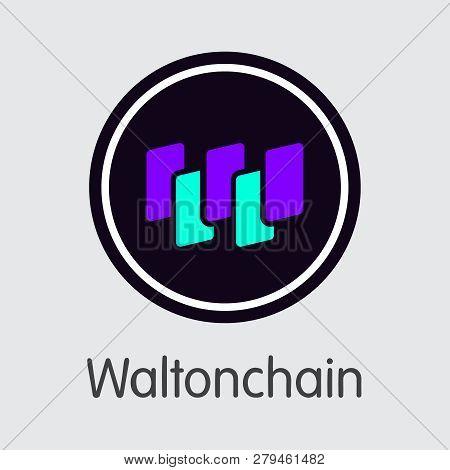 Wtc - Waltonchain. The Trade Logo Of Coin Or Market Emblem.
