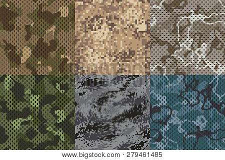 Camouflage khaki texture. Army fabric seamless forest and sand camo netting pattern vector textures set poster