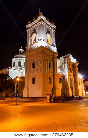 Santa Marta, Colombia - August 25, 2015: Cathedral Of Santa Marta In Th Evening.