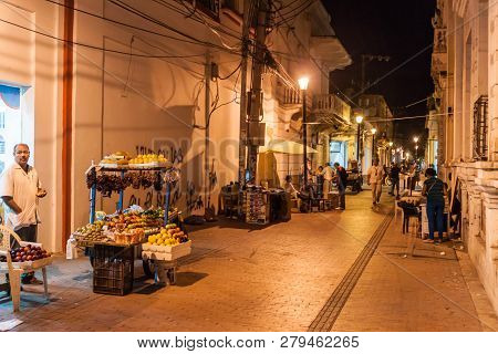 Santa Marta, Colombia - August 25, 2015: View Of A Night Street In The Center Of Santa Marta.