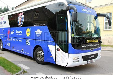Ruzomberok, Slovakia - September 14, 2018: Official Bus Of The Professional Team Quick Step Floors B