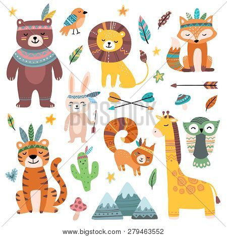 Funny Tribal Animals. Woodland Baby Animal, Cute Wild Forest Fox And Jungle Tribals Zoo Isolated Car