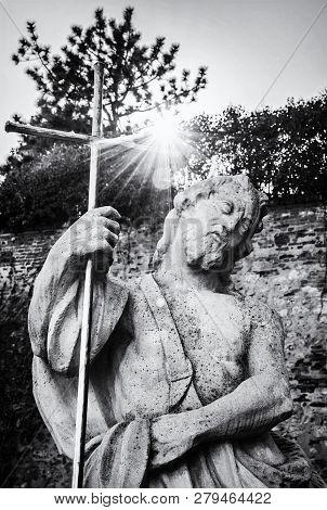 Statue Of Saint In Castle, Nitra, Slovak Republic. Religious Architecture. Travel Destination. Black