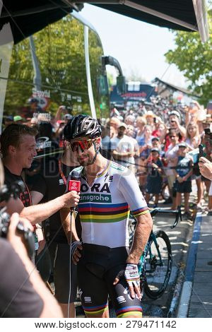 Marbella, Spain - August 26th, 2018. Peter Sagan From Bora Hansgrohe Cycling Team Giving An Intervie