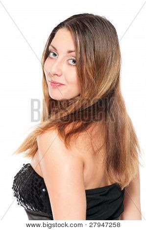 Young Woman In Evening Dress Turning Around