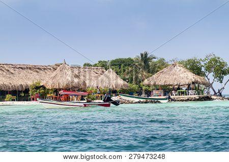 San Bernardo, Colombia - August 31, 2015: Beach Huts At Mucura Island Of San Bernardo Archipelago, C