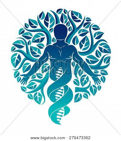 Vector Individual, Mystic Character Deriving From Dna Strands And Made With Eco Tree Leaves. Human,