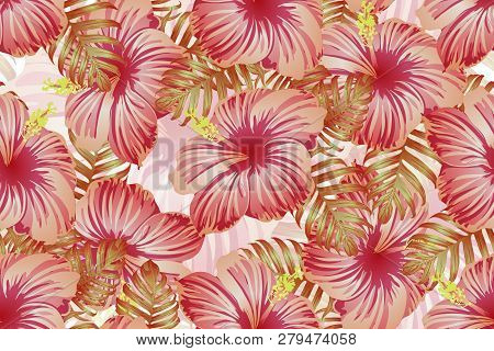 Tropical Pattern. Red Pink Green Exotic Summer Flower Vector Background. Beauty Fasion Monstera, Pal