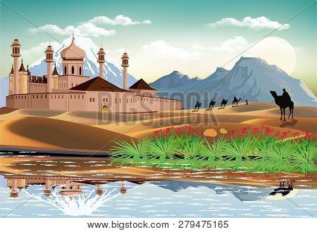 Landscape - Sunrise Over The Arab Fortress. The Sandy Desert. An Oasis In The Desert. Lake In The Sa