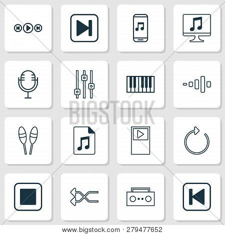 Music Icons Set With Musical Device, Shuffle, Stop Music And Other Mike Elements. Isolated  Illustra
