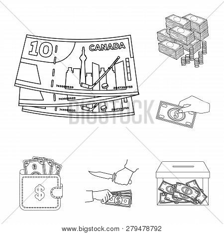 Isolated Object Of Cash And Currency Symbol. Collection Of Cash And Stack Stock Symbol For Web.