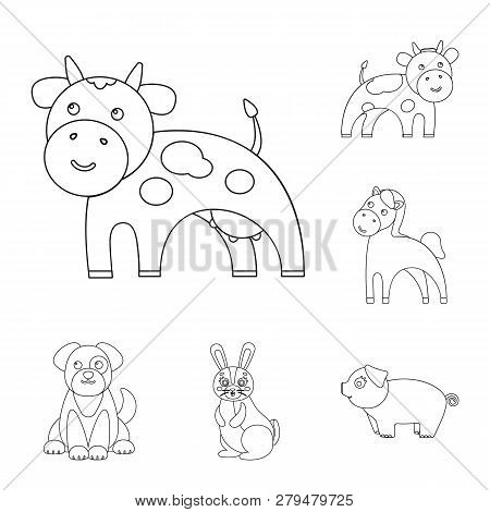 Vector Illustration Of Animal And Habitat Symbol. Set Of Animal And Farm Vector Icon For Stock.