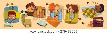 Elementary Class Bedtime Character Illustration. Kindergarten Multiracial Children Nap Time, Girl Fr