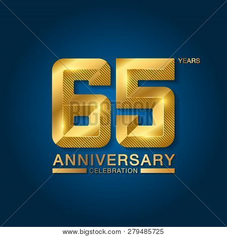 65 Years Anniversary Celebration Logotype. Golden Anniversary Emblem With Ribbon. Design For Booklet