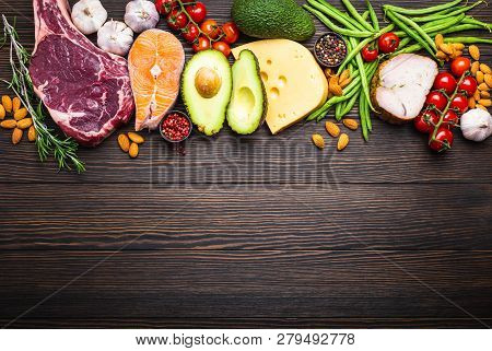 Ketogenic Low Carbs Ingredients For Healthy Weight Loss Diet, Top View, Copy Space. Keto Foods On Wo