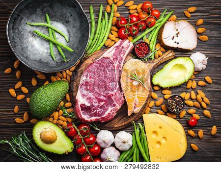 Making Dinner With Low Carbs Ingredients For Healthy Eating Concept And Weight Loss, Top View. Keto
