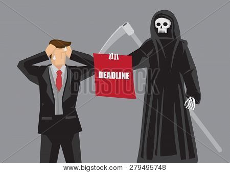 Business Professional Break Down In Front Of Death Character Holding A Board With Text Deadline. Cre