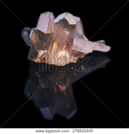 Natural Splice Of Rhinestone Crystals On Black Background With Reflection
