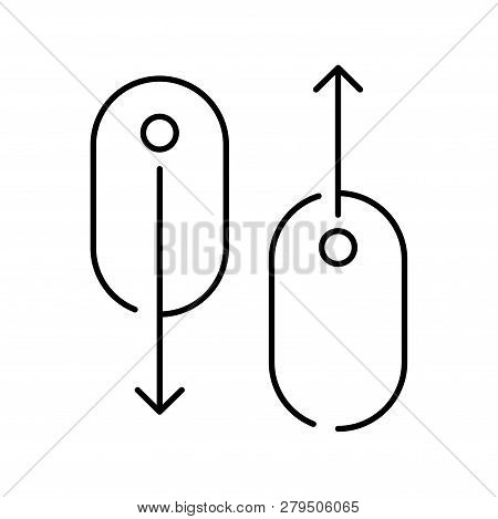 Modern Linear Pictogram Of Scroll Down. Concept Line Icon Scroll Down. Icon Of Scroll Down. Scroll D