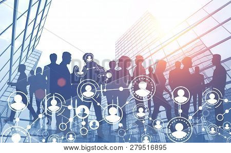 Business Team In City, Social Network