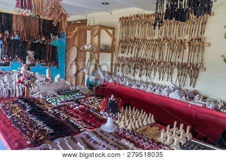 Gran Sabana, Venezuela - August 13, 2015: Handmade Souvenirs For Sale In An Indigenous Village In Gr