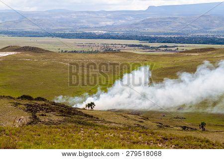 Wild Fire In Gran Sabana National Park In Venezuela