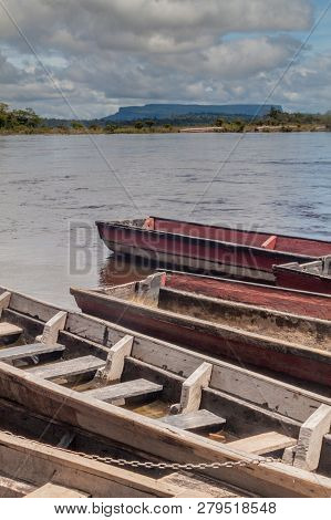 Canoes On The River Carrao, Venezuela. They Are Used For Tours To Angel Fall, The Highest Waterfall