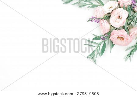 Beautiful Pink Roses Heads On Pink Background. Frame From Flower In Pastel Colors. Overhead View, To