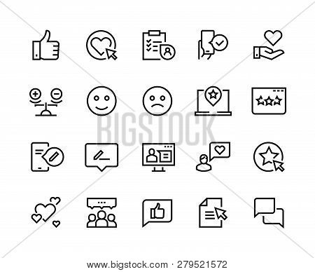 Testimonials Line Icons. Happy Customer Feedback Client Service Experience Positive Review Satisfact