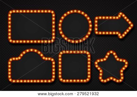 Light Bulb Frame. Makeup Mirror Marquee Circus Signboard Cinema Casino Theater Billboard Lump Border